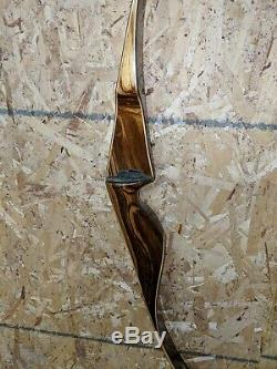 1965 BEAR Archery 45# 58 GRIZZLY ZEBRAWOOD RECURVE BOW GRAYLING MI white tips