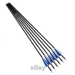24PCS Carbon Arrows f Compound & Recurve Bow Hunting and Archery Shooting Target