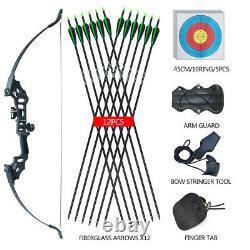 50lb Archery 51 Takedown Recurve Bow Set Hunting Targeting Arrows Set Adult