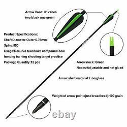 50lb Archery 56 Takedown Recurve Bow Set 12x Arrows Hunting Kit Outdoor Sports