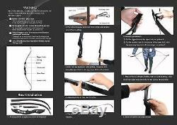 50lb Archery Takedown Recurve Bow Set 12x Arrow Target Practice Right Hand Adult