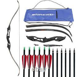 50lbs Archery 56 Takedown Recurve Bow Hunting Longbow & 6x Carbon Arrows Set