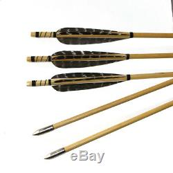 50lbs Archery Hunting Traditional Recurve Bow Mongolian Longbow with Wood Arrows