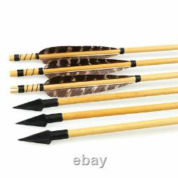 50lbs Traditional Archery Hunting Recurve Bow Mongolian Horsebow & Wooden Arrows