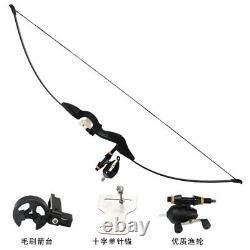 54 Black Fishing Recurve Bow Takedown Longbow Archery Fishing Reel Hunting 30lb