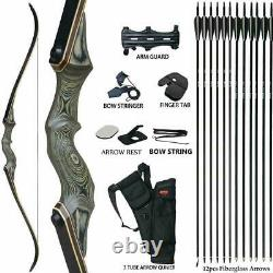 60 Archery 60LBS Takedown Recurve Bow Kit Hunting Set Arrows Right Hand Adult