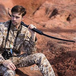 60lbs Folding Takedown Straight Bow Archery Hunting Longbow Fishing Shooting