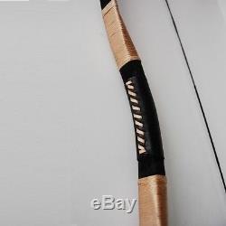 65lbs Traditional Handmade Recurve Bow Pigskin Hunting Longbow Archery Black