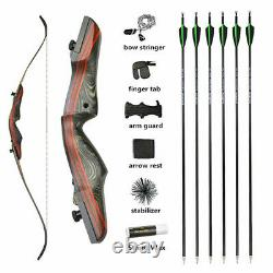 Archery 62 Takedown Recurve Bow 20-50lbs Hunting 17 Riser Wooden Carbon Arrows