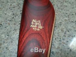 Bear GRIZZLY Glasspowered Recurve Bow BG-12 9-1572 AMO-58, 45#, RH, NEW