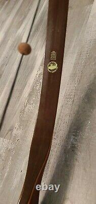 Fred BEAR RECURVE White Tip BOW GRIZZLY 45# 58 1953 vtg Wood Coin Bubinga Wood