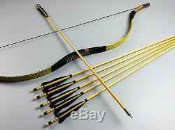 Handmade 50LBS Snakeskin Ox horn HorseBow Mongolian Longbow Recurve+6 Wood arrow