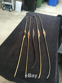 Lot of 5 vintage fiberglass recurve bow longbow with leather grips