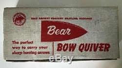 NOS Vintage Fred Bear Archery Leather Top Recurve Bow Quiver & Box Traditional