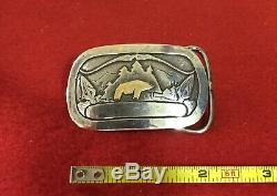 Scarce Vtg 1978 24kt Sterling Silver Fred Bear Archery Belt Buckle Recurve Bow
