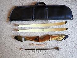 Vintage 1969/70 Bear Archery Takedown Wood C Riser Recurve Bow WHOLE SETUP