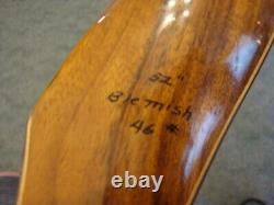 Vintage Wood Grain Wing Archery RED WING HUNTER LH Recurve BOW 46# 52