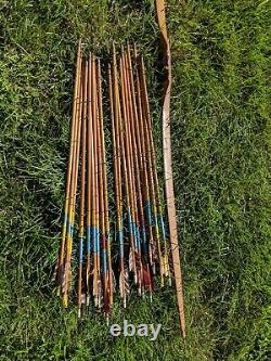 Vintage wood bow and arrows Archery apx 16 arrows 1930's 40's 30 lbs